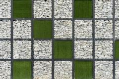 Modern Art Grass And Stone Wall 3